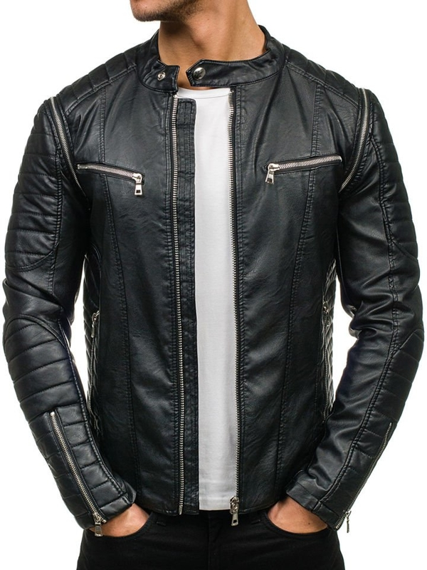 Men's Leather Jacket Black Bolf 9188