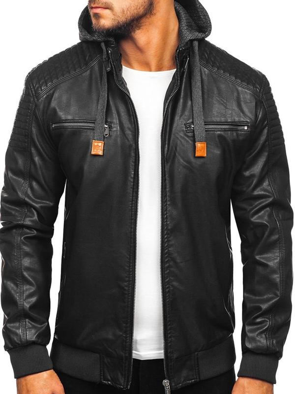 Men's Leather Jacket Black Bolf EX895