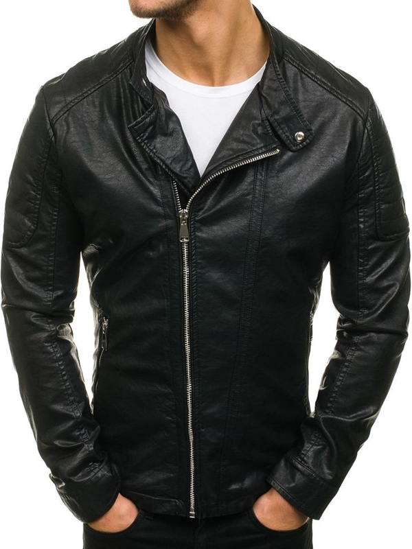 Men's Leather Jacket Black Bolf d003