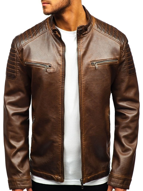 Men's Leather Jacket Brown Bolf EX802