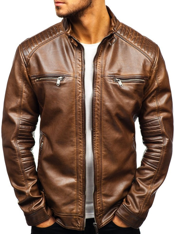 Men's Leather Jacket Brown Bolf ex807