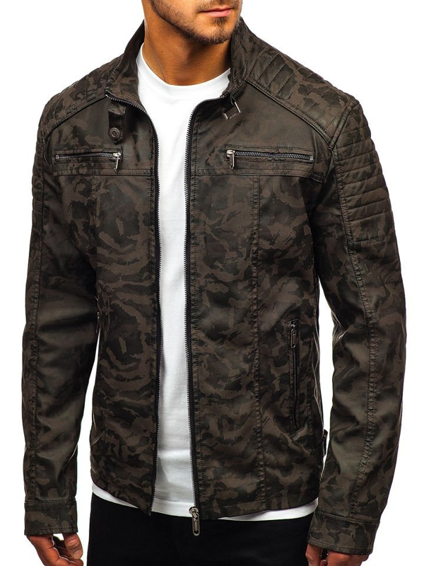 Men's Leather Jacket Camo-Khaki Bolf EX920