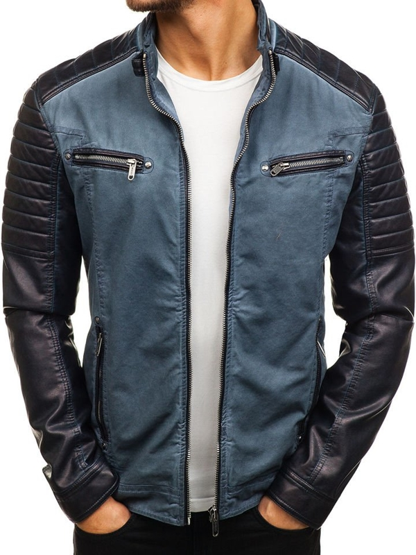 Men's Leather Jacket Navy Blue Bolf ex809