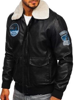 Men's Leather Pilot Jacket Black Bolf 4794