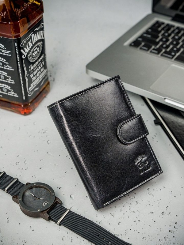 Men's Leather Wallet Black 3208