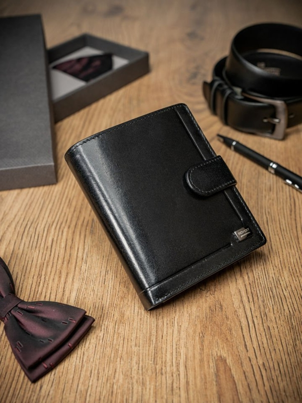 Men's Leather Wallet Black 371