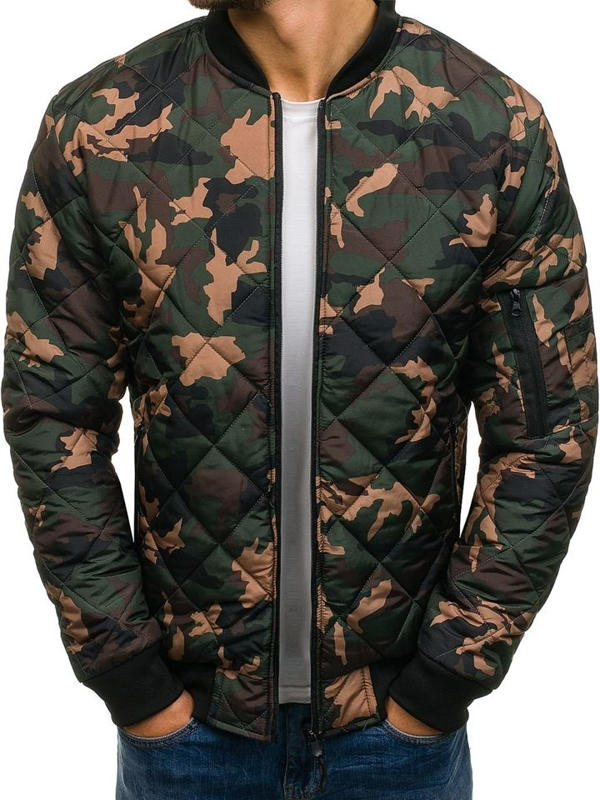 Men's Lightweight Bomber Jacket Camo-Green Bolf AK97