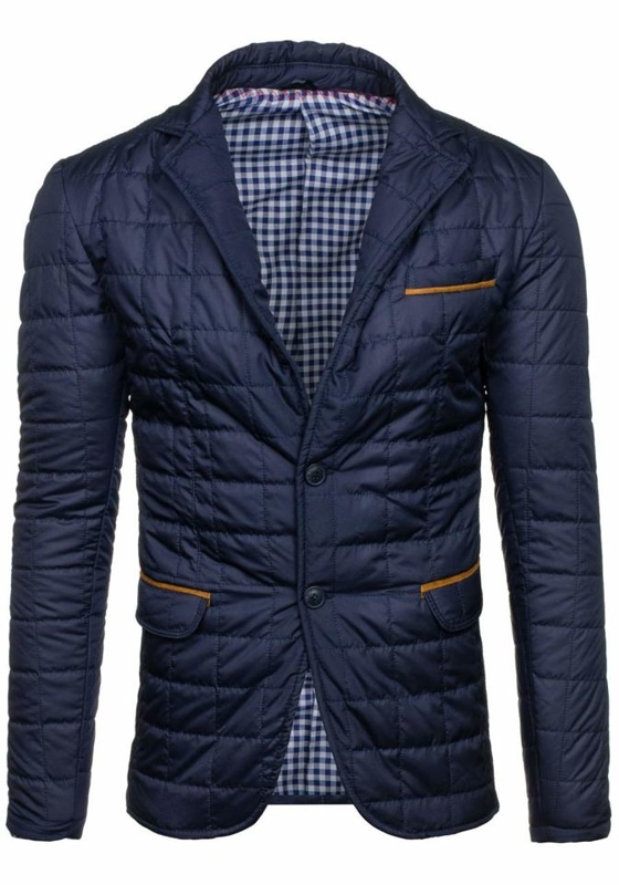 Men's Lightweight Elegant Jacket Navy Blue Bolf y606