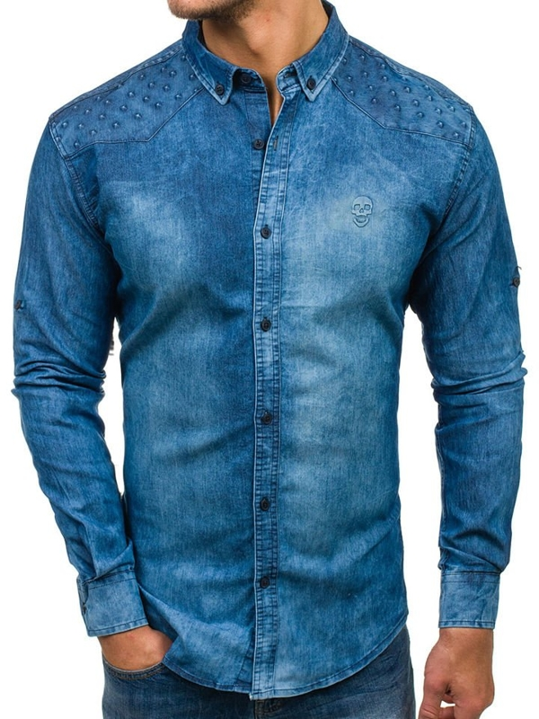 Men's Long Sleeve Denim Shirt Blue Bolf 0540