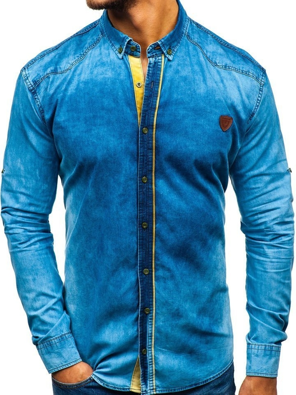 Men's Long Sleeve Denim Shirt Blue Bolf RL15
