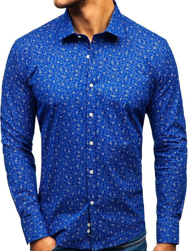Men's Patterned Long Sleeve Shirt Blue 201G64