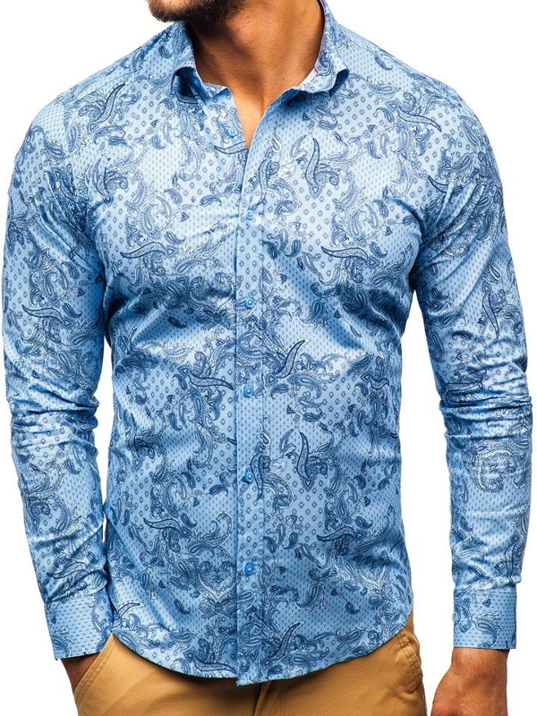Men's Patterned Long Sleeve Shirt Blue Bolf 200G63