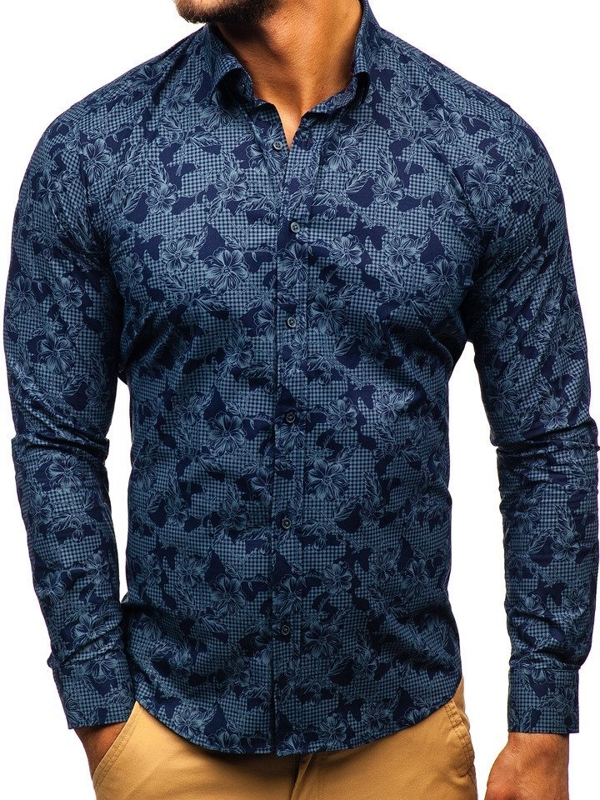 Men's Patterned Long Sleeve Shirt Navy Blue Bolf 200G64