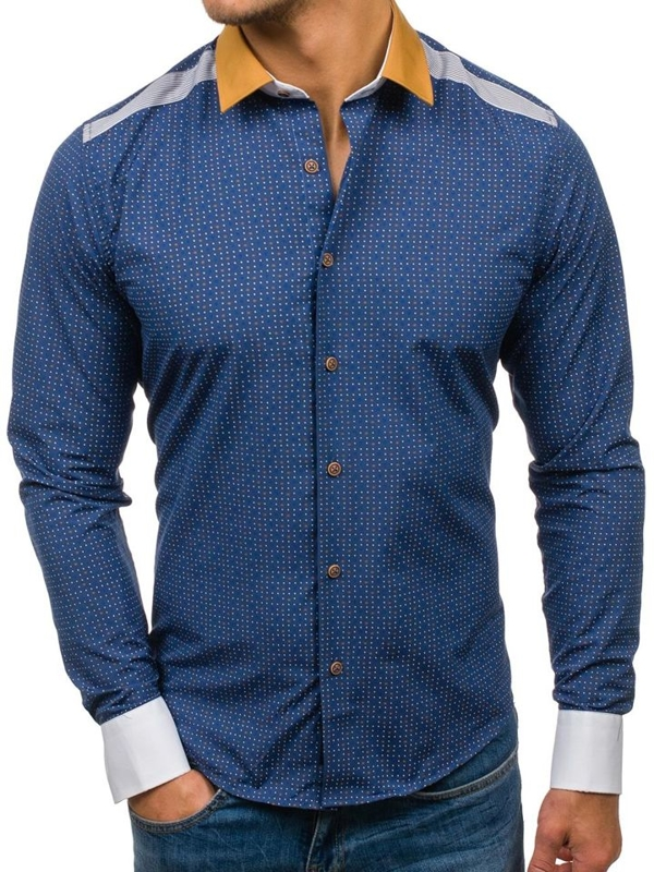 Men's Patterned Long Sleeve Shirt Navy Blue Bolf 8805