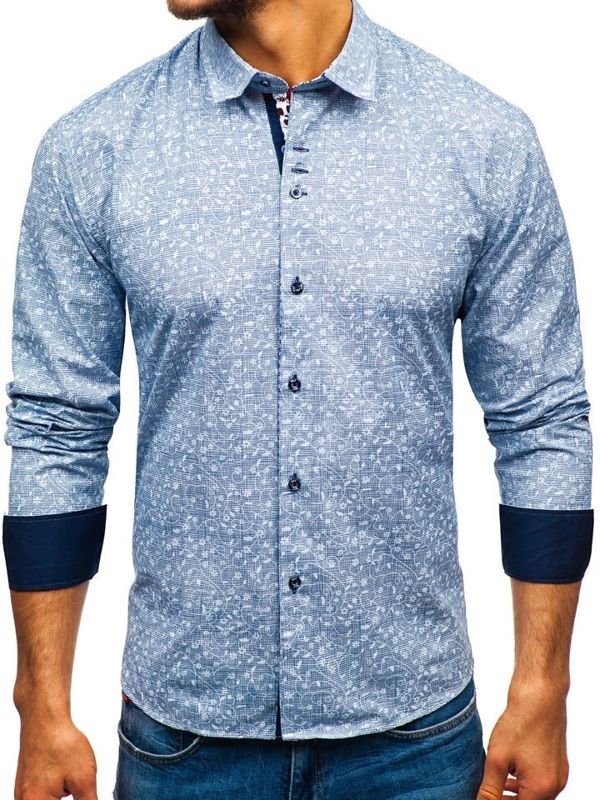 Men's Patterned Long Sleeve Shirt Navy Blue Bolf 9701