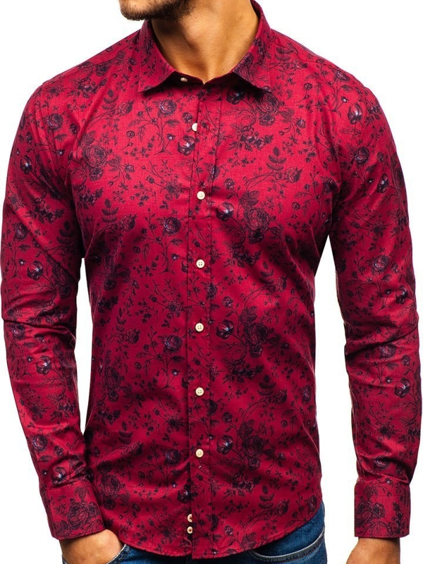 Men's Patterned Long Sleeve Shirt Red 200G7