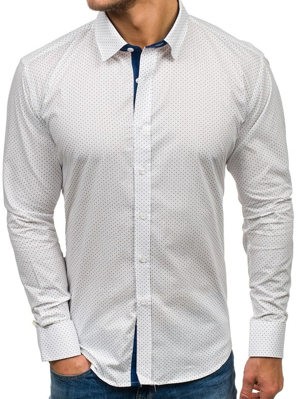 Men's Patterned Long Sleeve Shirt White Bolf GE1011