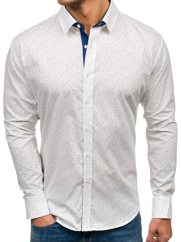 Men's Patterned Long Sleeve Shirt White Bolf GE1013