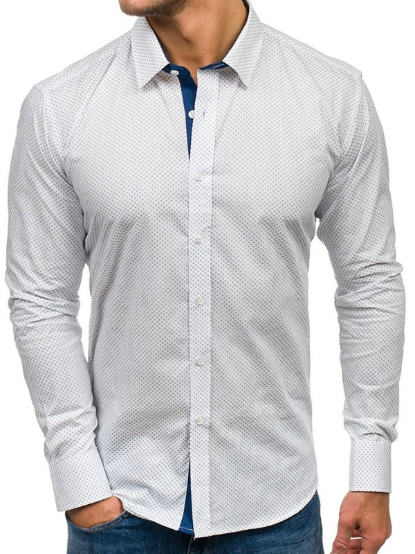 Men's Patterned Long Sleeve Shirt White Bolf GE1014