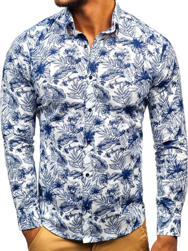 Men's Patterned Long Sleeve Shirt White-Navy Blue Bolf 200G65