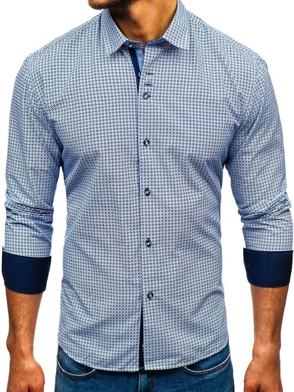 Men's Patterned Long Sleeve Shirt White-Navy Blue Bolf 9702