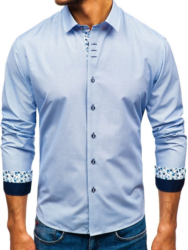 Men's Patterned Long Sleeve Shirt White-Navy Blue Bolf 9704
