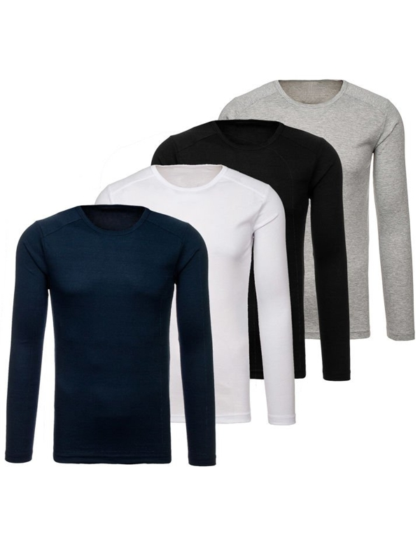 Men's Plain Long Sleeve Top Multicolor 4 Pack Bolf C10045-4P