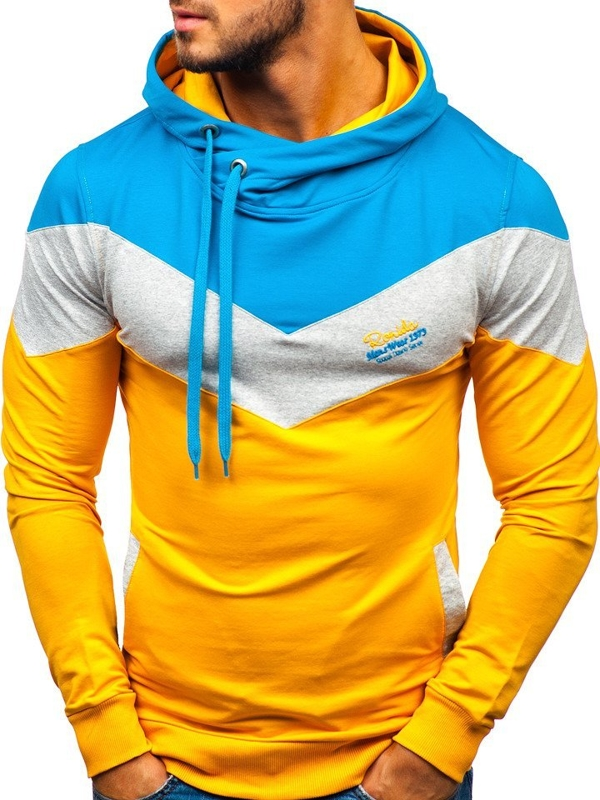 Men's Printed Hoodie Yellow Bolf 4555-A