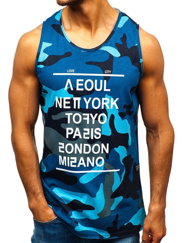 Men's Printed Tank Top Camo-Blue Bolf 1148