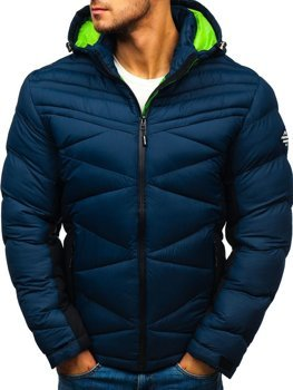 Men's Quilted Down Winter Jacket Navy Blue Bolf AB121