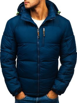 Men's Quilted Down Winter Jacket Navy Blue Bolf AB71