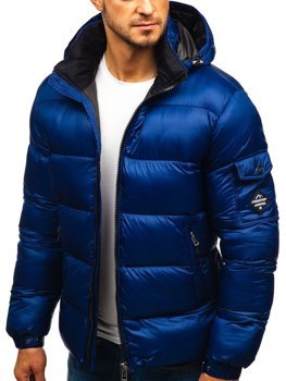 Men's Quilted Winter Jacket Navy Blue Bolf AB64