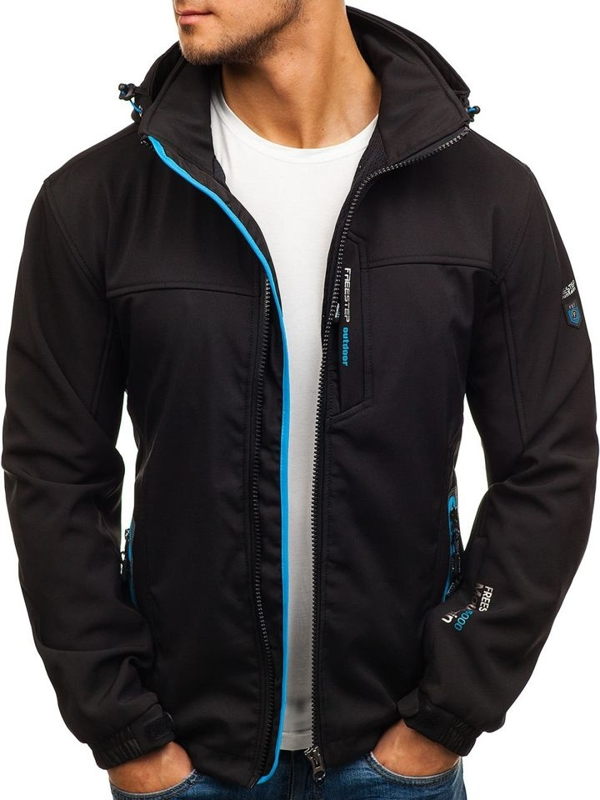 Men's Softshell Jacket Black-Blue Bolf 5532