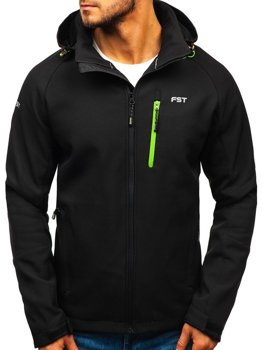 Men's Softshell Jacket Black-Green Bolf 107A