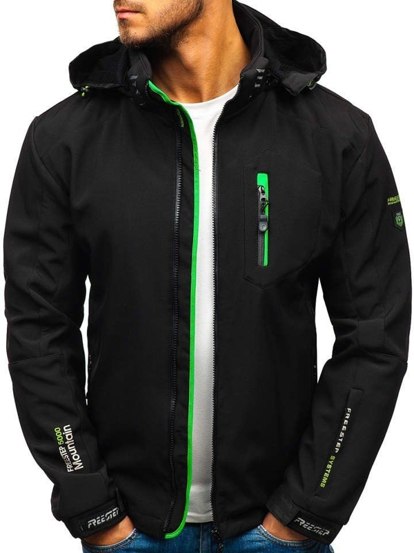 Men's Softshell Jacket Black-Green Bolf P135-A