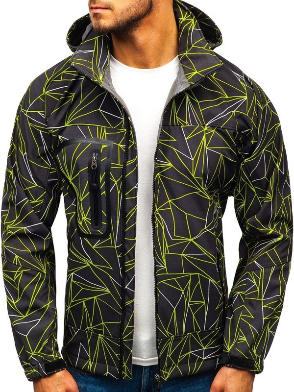 Men's Softshell Jacket Black-Green Bolf T019T