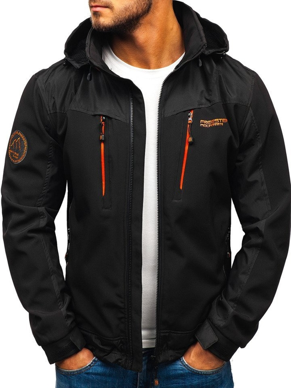 Men's Softshell Jacket Black-Orange Bolf P185