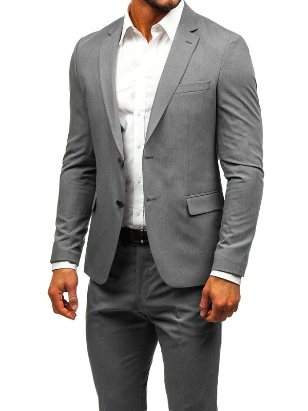 Men's Suit Grey-Navy Blue Bolf 19200
