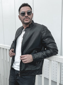 Men's Warm Leather Biker Jacket Black Bolf 92531