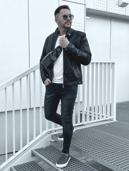 Men's Warm Leather Biker Jacket Black Bolf 92535