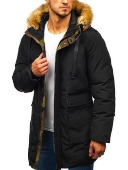 Men's Winter Parka Jacket Black Bolf 5386