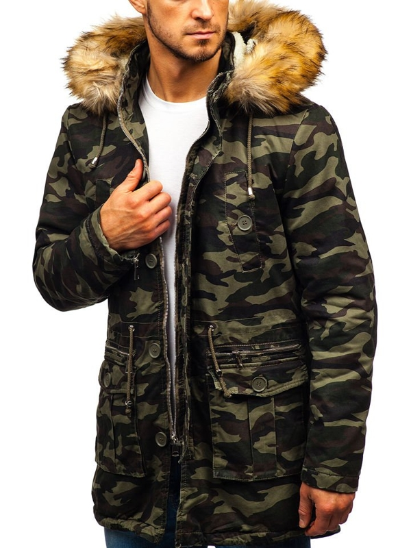 Men's Winter Parka Jacket Camo-Green Bolf 88620
