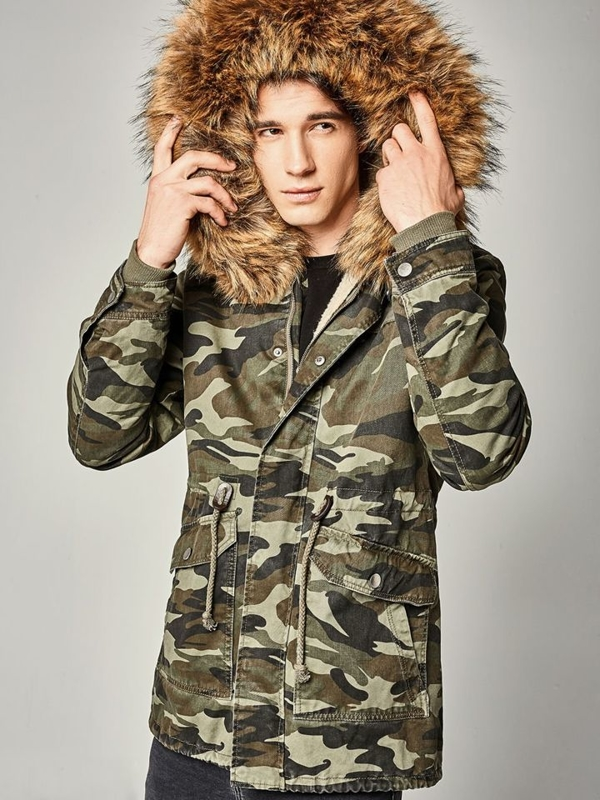 Men's Winter Parka Jacket Camo-Green Bolf B3707