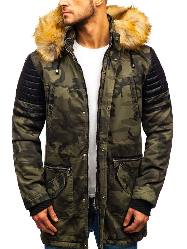 Men's Winter Parka Jacket Camo-Khaki Bolf 88832