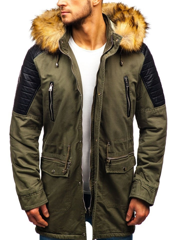 Men's Winter Parka Jacket Khaki Bolf 88830