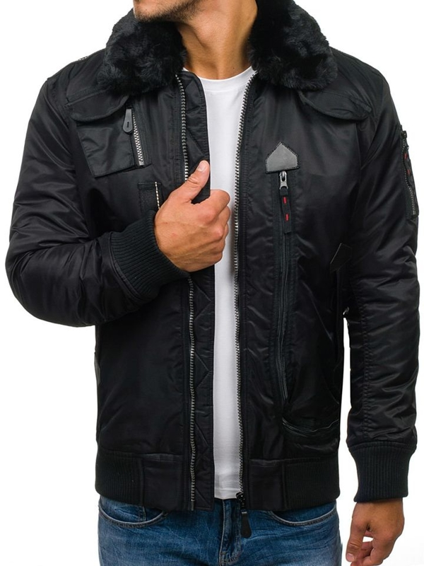 Men's Winter Pilot Jacket Black Bolf 3095