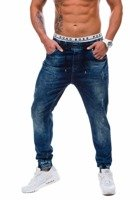 Navy Blue Men's Denim Baggy Trousers Bolf 808