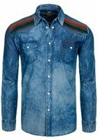 Navy Blue Men's Denim Patterned Long Sleeve Shirt Bolf 3004