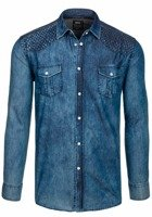 Navy Blue Men's Denim Patterned Long Sleeve Shirt Bolf 3005
