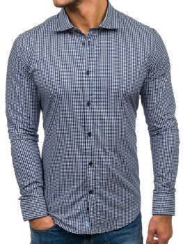Navy Blue Men's Elegant Patterned Long Sleeve Shirt Bolf 1506